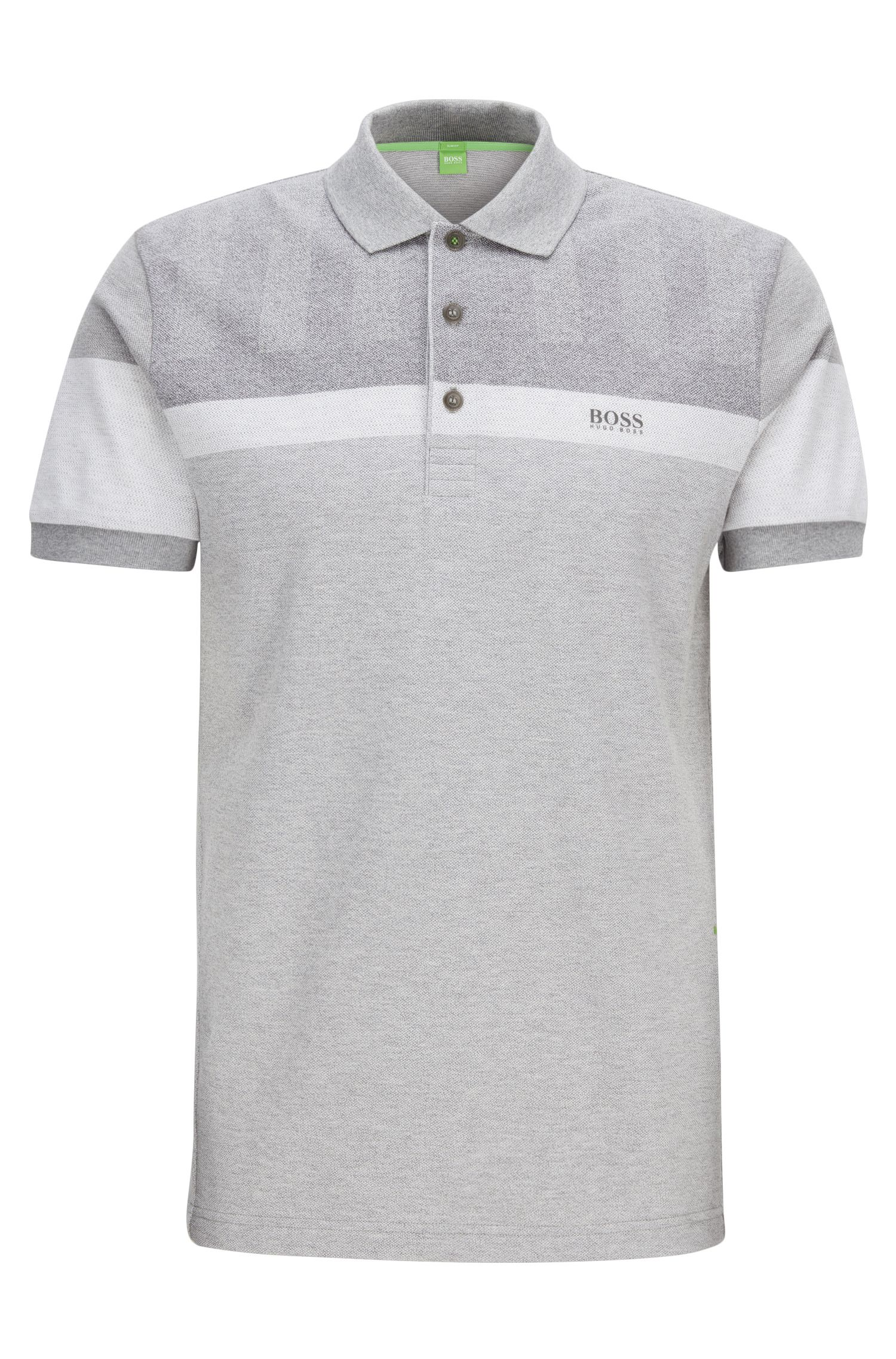 Slim-fit polo shirt in mélange piqué