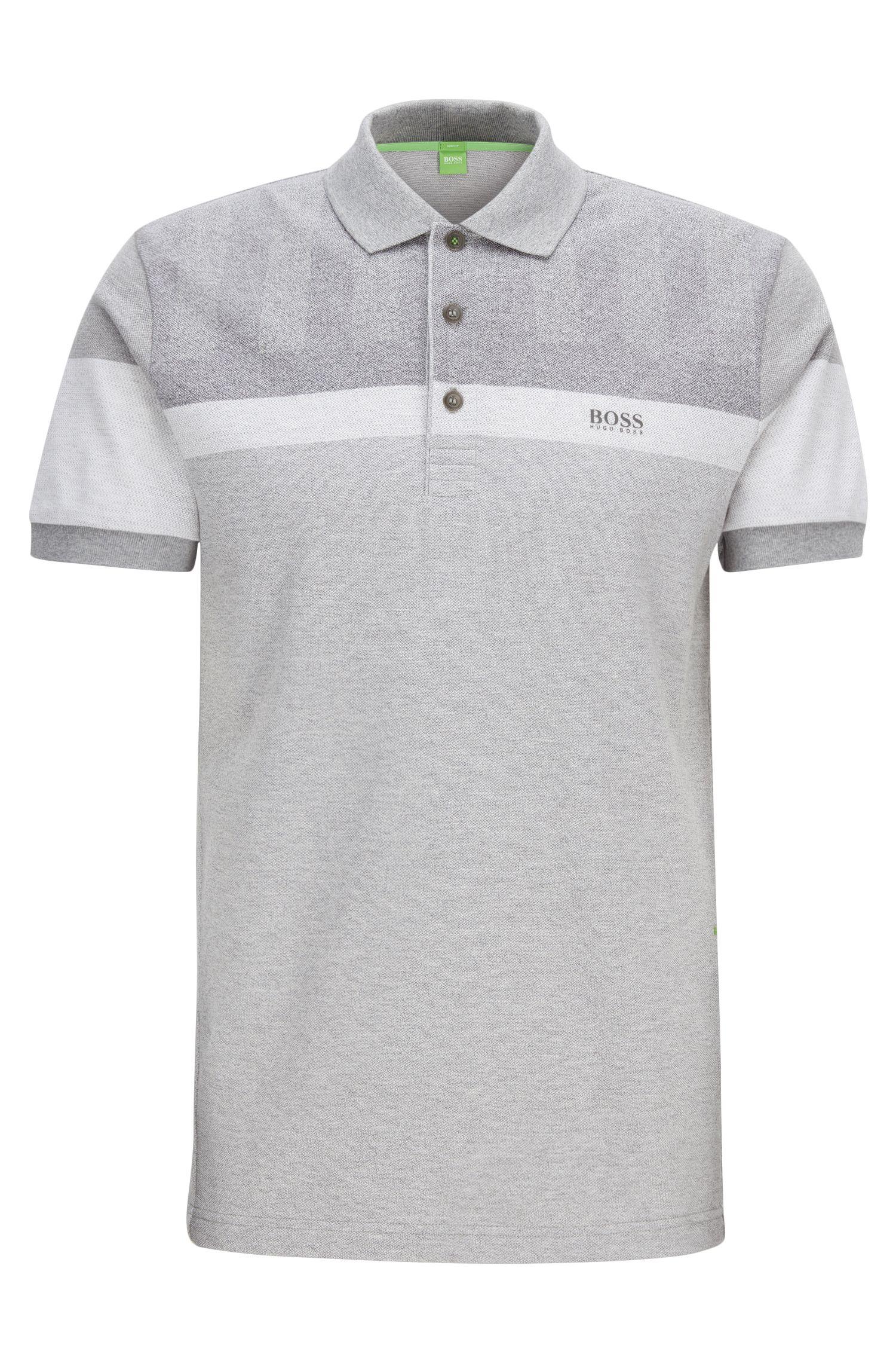 Slim-Fit Poloshirt aus meliertem Piqué