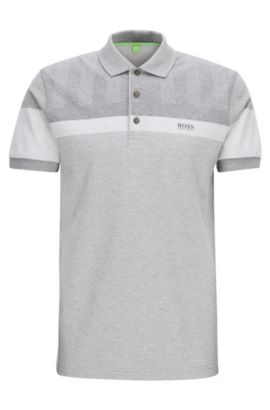 Slim-fit polo shirt in mélange piqué, Light Grey