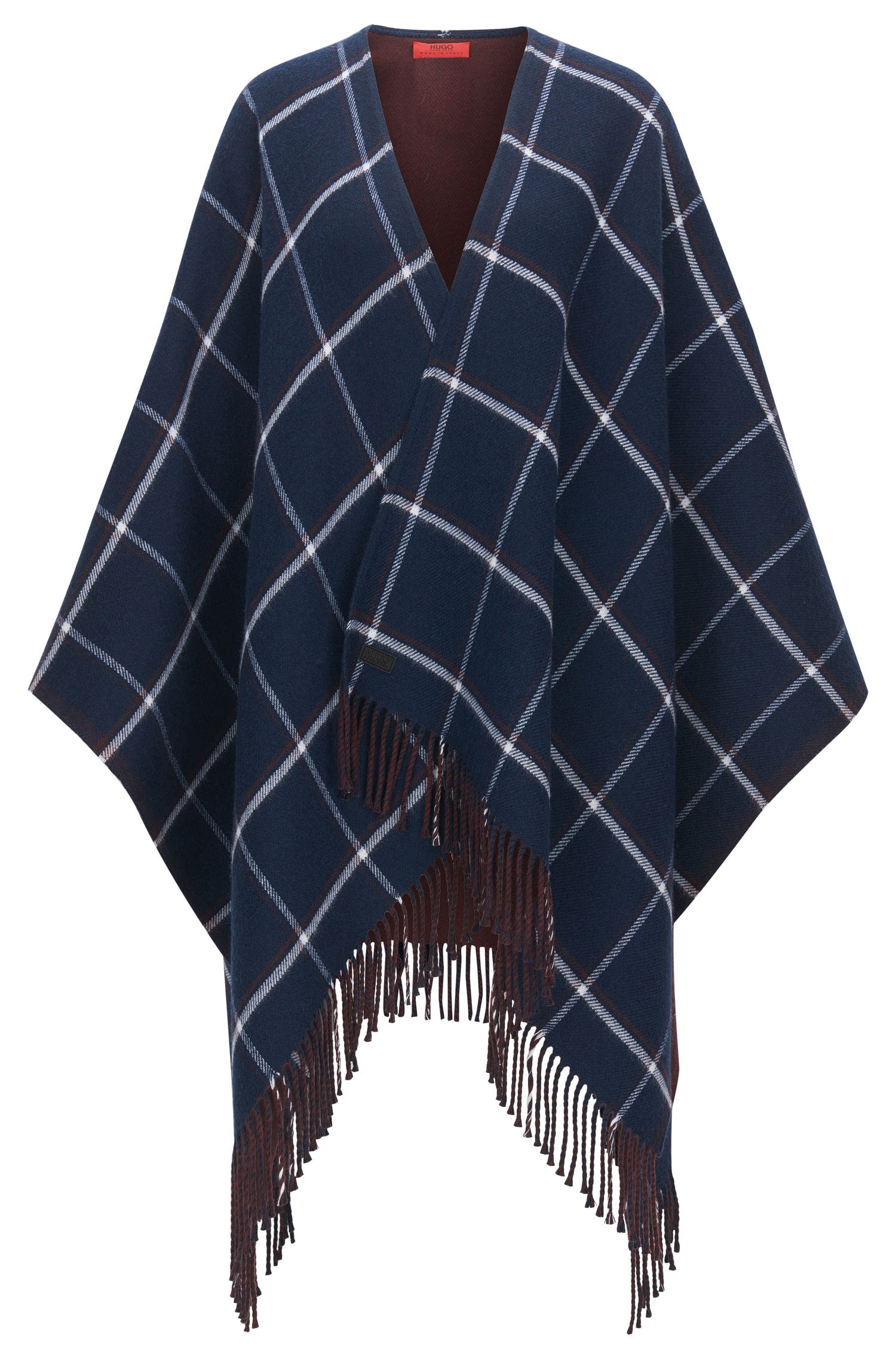 Reversible poncho in double-face fabric