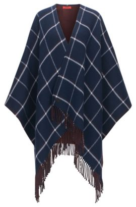 Reversible poncho in double-face fabric, Patterned