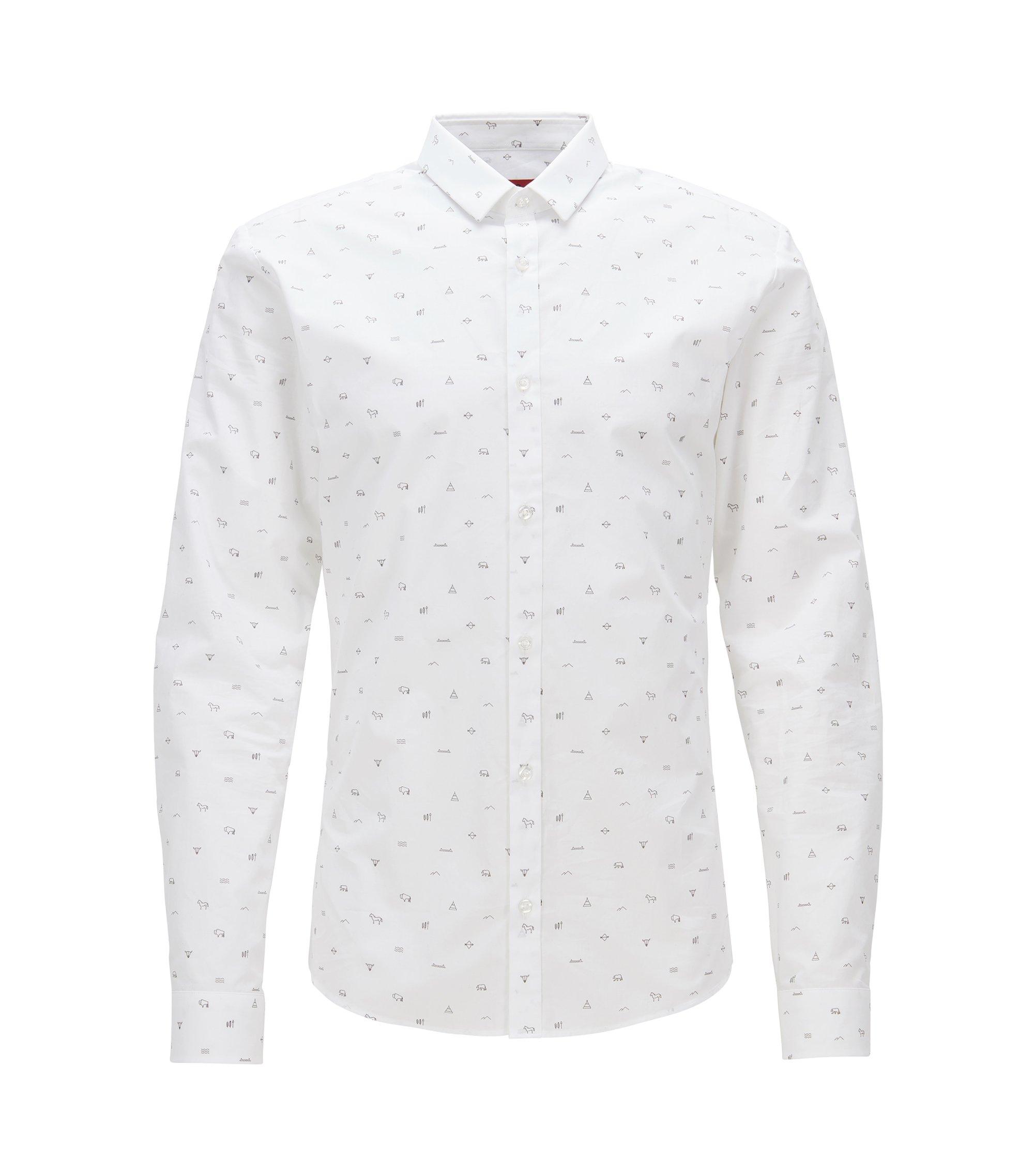 Chemise Slim Fit en popeline de coton imprimée, Blanc