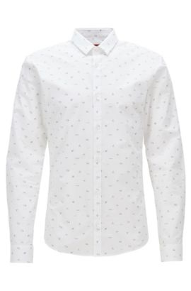 Slim-fit shirt in printed cotton poplin, Open White