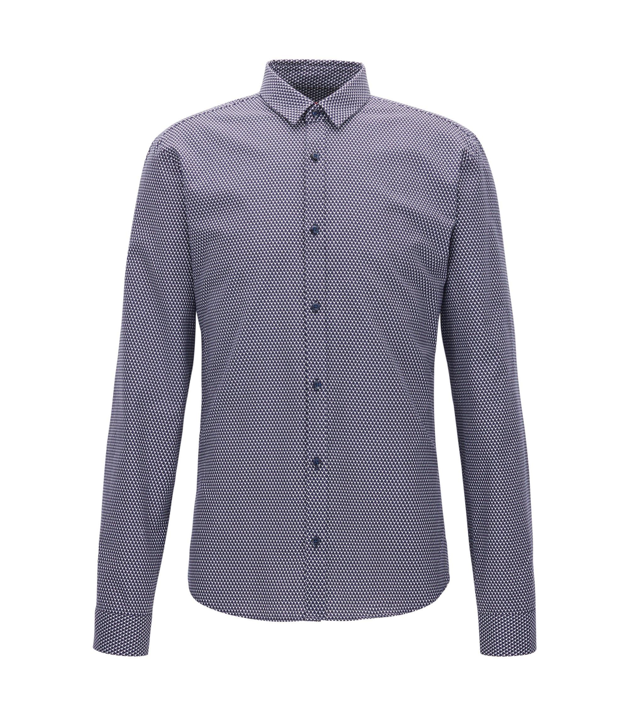 Camisa de pana slim fit de peso medio con microestampado, Azul oscuro