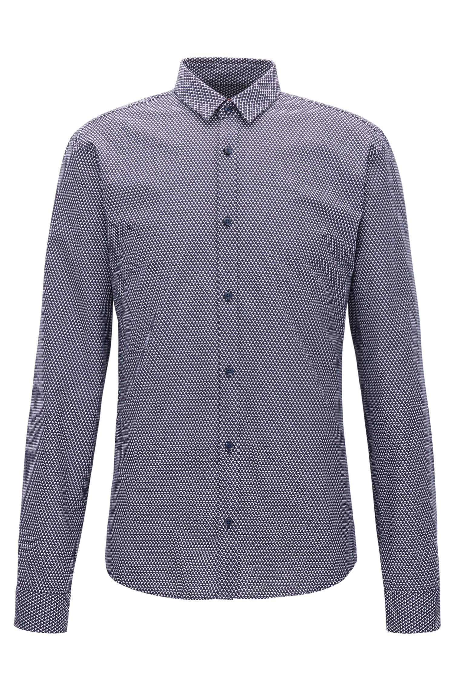 Slim-fit mid-weight corduroy shirt in micro print