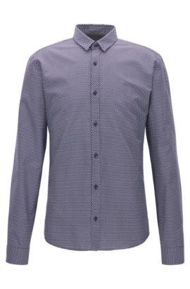 Slim-fit overhemd van middelzware corduroy met microprint, Donkerblauw