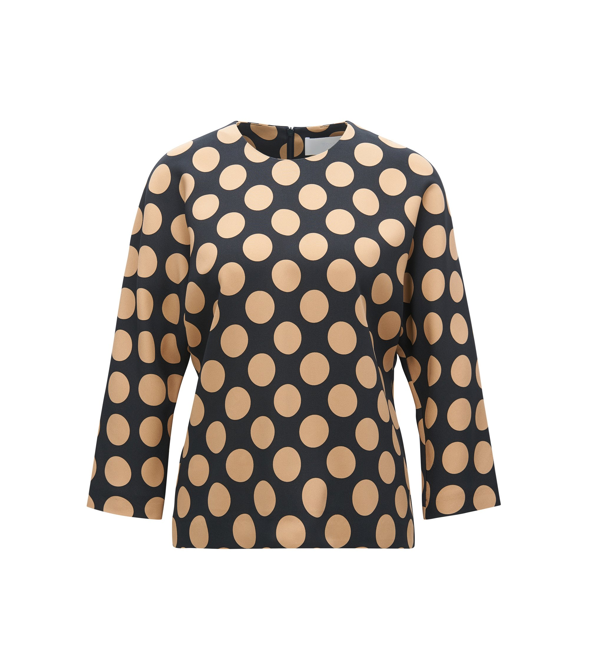 Polka-dot top in stretch fabric, Patterned