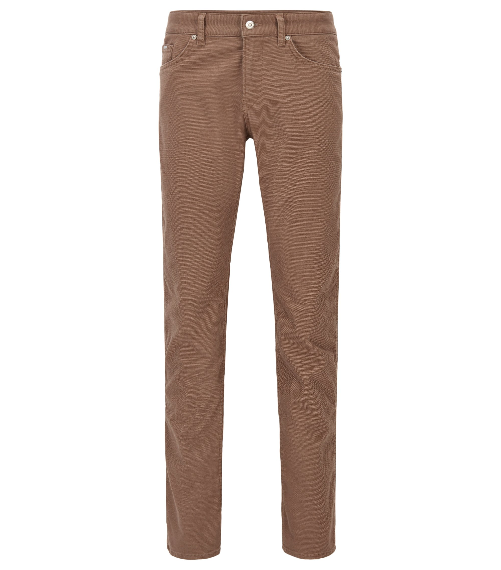 Jeans Slim Fit en denim stretch brossé, Marron