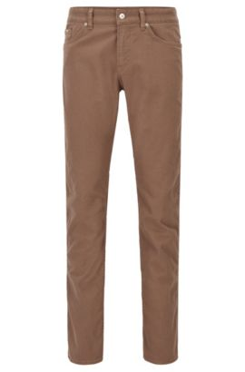 Jeans Slim Fit en denim stretch brossé, Marron