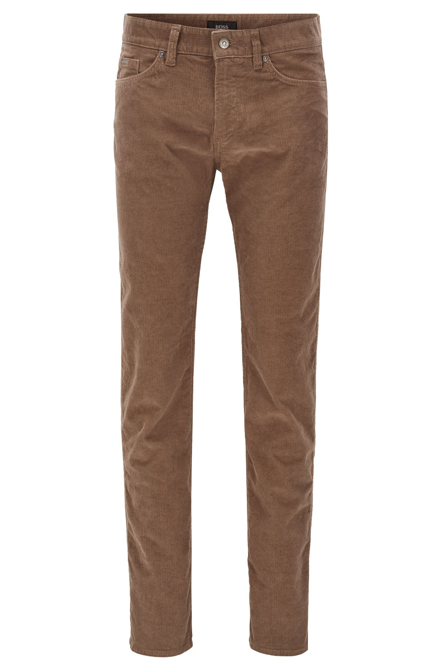 Slim-fit jeans van gestructureerd corduroy met stretch