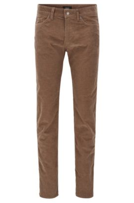 Slim-fit jeans van gestructureerd corduroy met stretch , Kaki