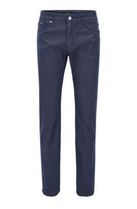 Regular-fit jeans in brushed melange stretch denim, Donkerblauw