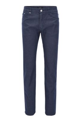 Regular-fit jeans in brushed melange stretch denim, Azul oscuro
