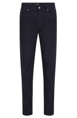 Slim-fit jeans van gestructureerde katoen met stretch, Donkerblauw