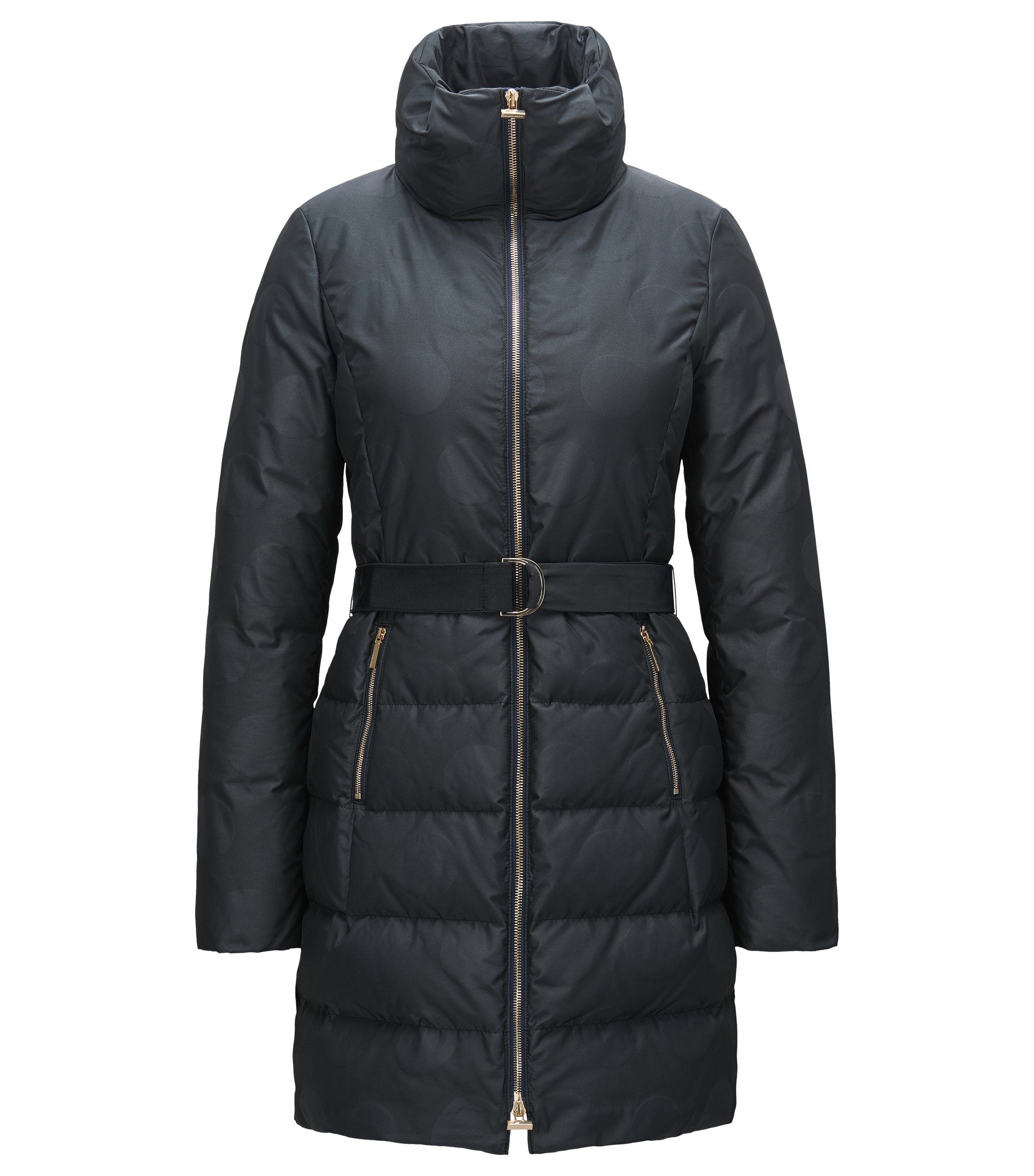 Belted down coat with jacquard dot pattern, Patterned