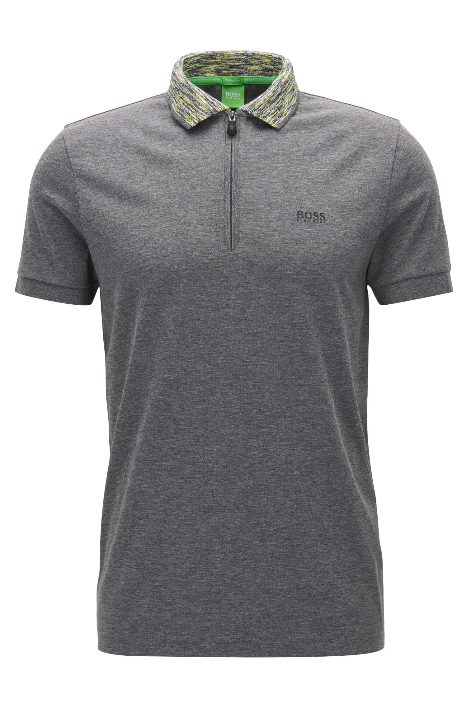 Regular-fit polo van gecoat materiaal