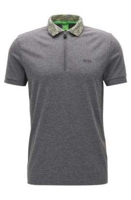 Plated-fabric polo shirt in a regular fit, Grey