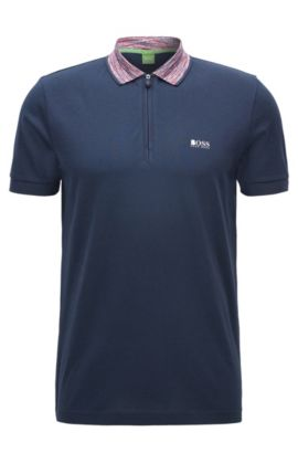 Polo regular fit in tessuto placcato, Blu scuro