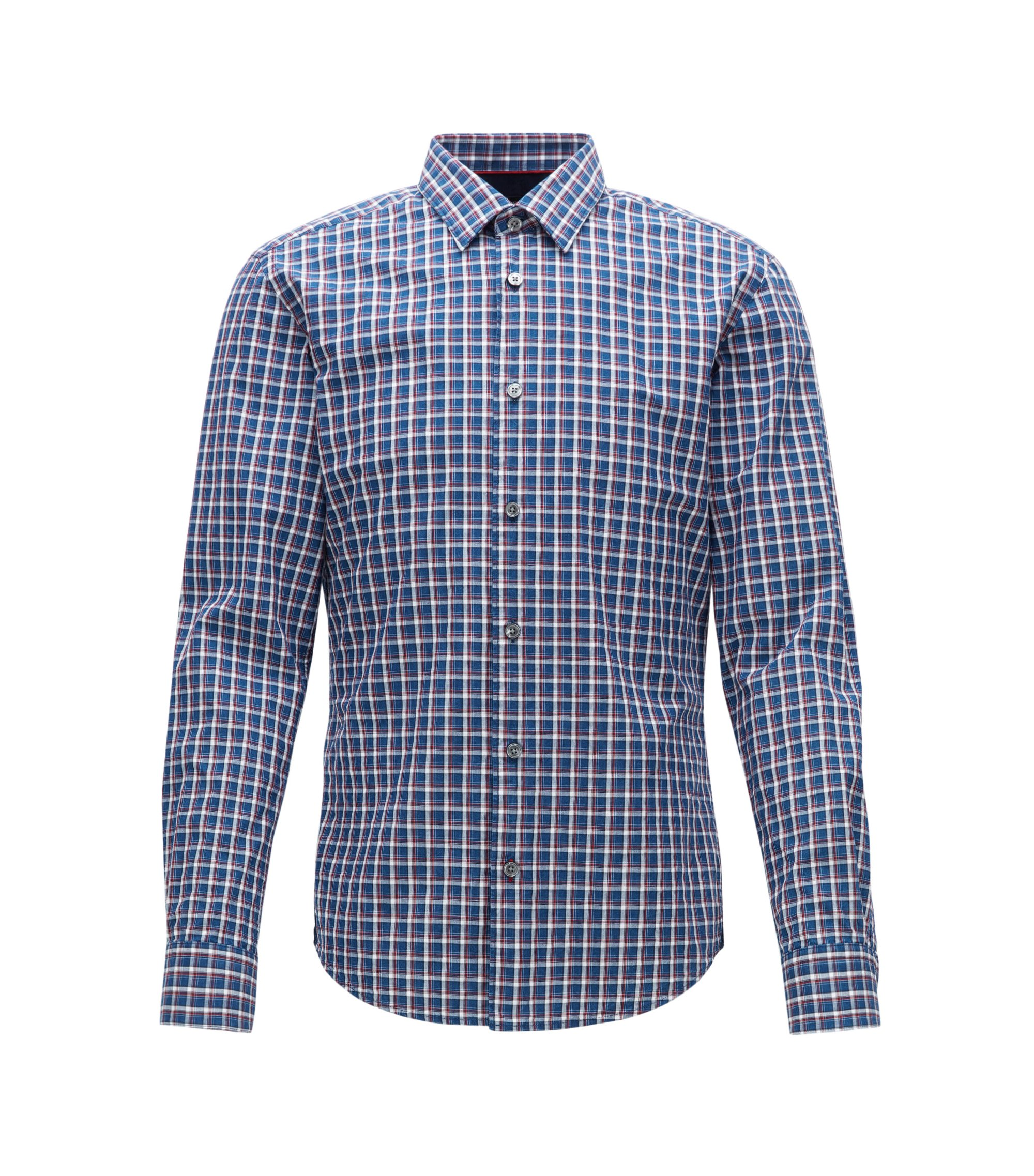 Chemise Slim Fit en denim de coton à carreaux, Fantaisie