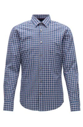 Slim-fit shirt in denim-check cotton, Patterned