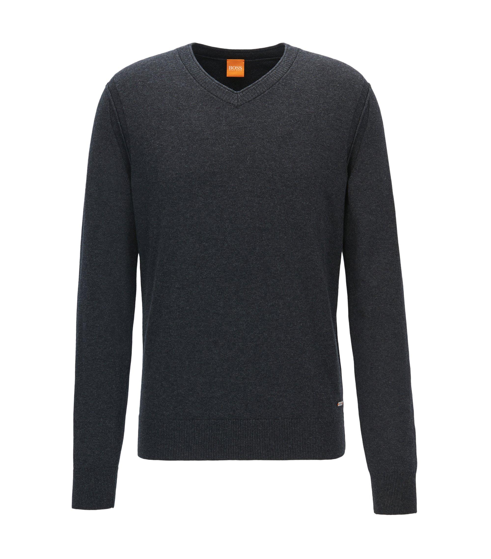 Regular Fit Pullover aus Baumwoll-Mix mit Schurwolle, Dunkelgrau