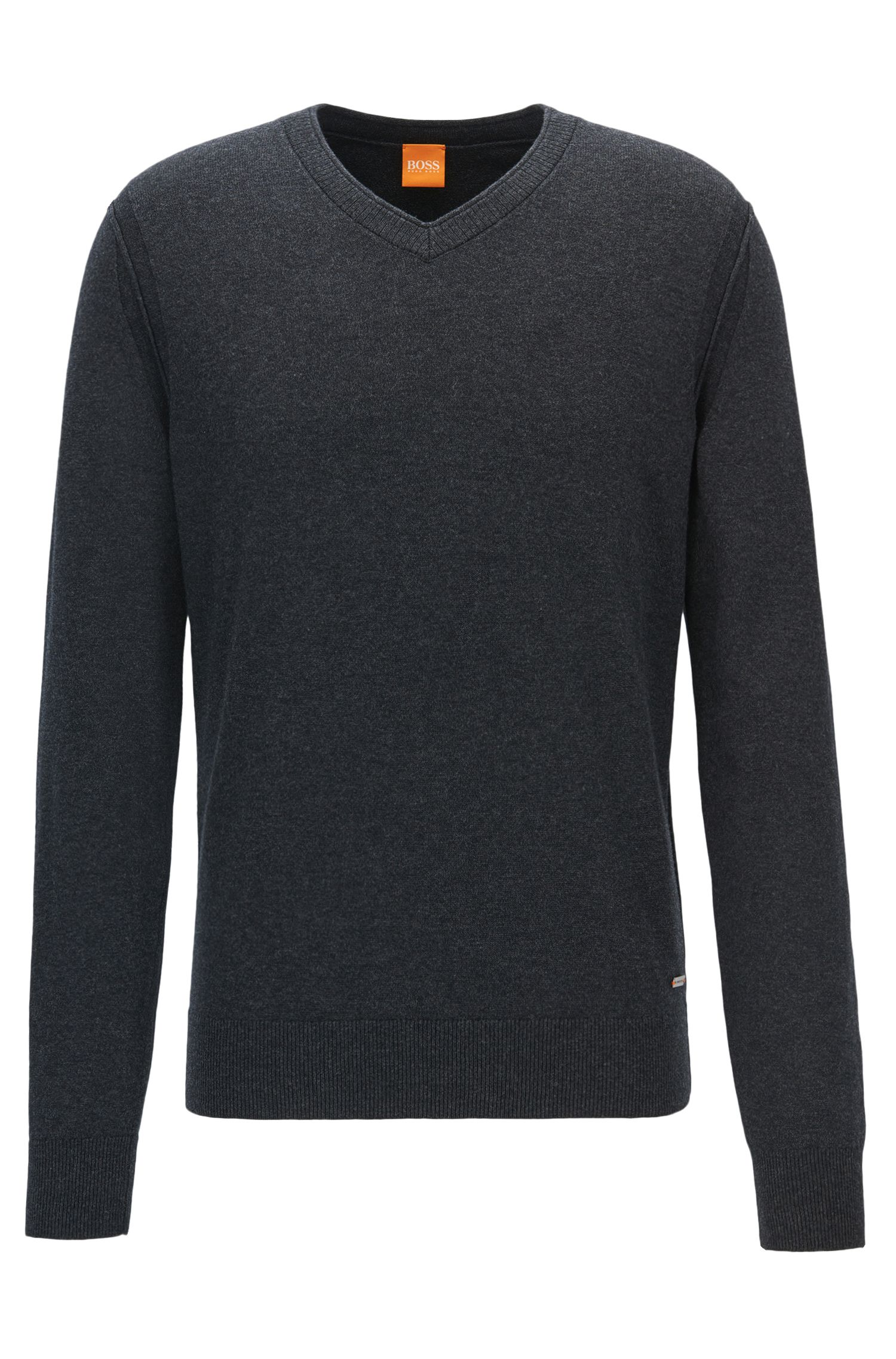 V-neck sweater in knitted blend
