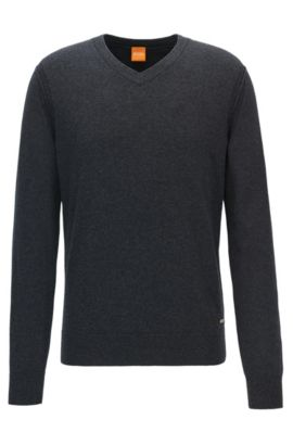 V-neck sweater in knitted blend, Dark Grey