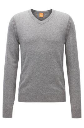 Regular Fit Pullover mit V-Ausschnitt aus Baumwoll-Mix mit Schurwolle, Hellgrau