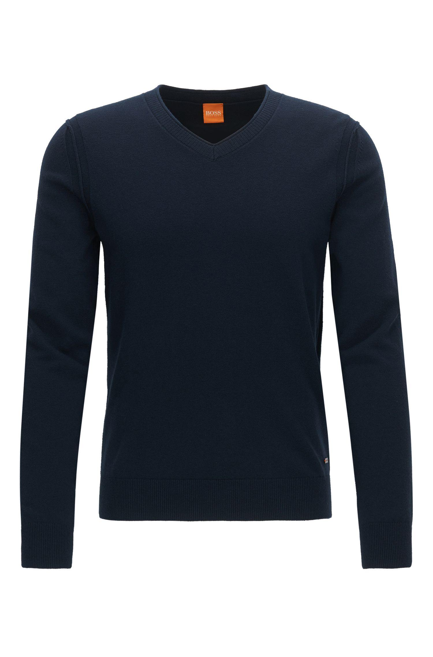 Regular Fit Pullover mit V-Ausschnitt aus Baumwoll-Mix mit Schurwolle