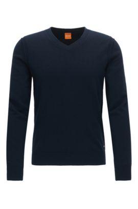 Regular Fit Pullover mit V-Ausschnitt aus Baumwoll-Mix mit Schurwolle, Dunkelblau