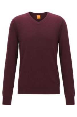 V-neck sweater in knitted blend, Dark Red