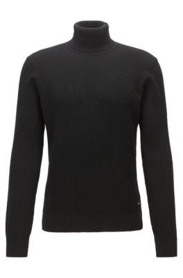 Jersey ligero con cuello alto y textura de punto contrastada, Negro