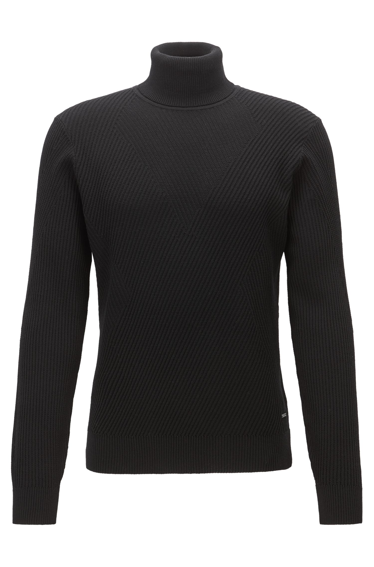 Lightweight turtle-neck sweater in a knitted structure contrast