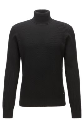 Leichter Slim-Fit Rollkragenpullover aus Schurwolle mit Kontrast-Strukturen, Schwarz