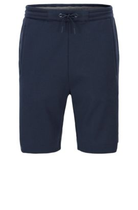 Pantaloncini corti regular fit in misto cotone, Blu scuro