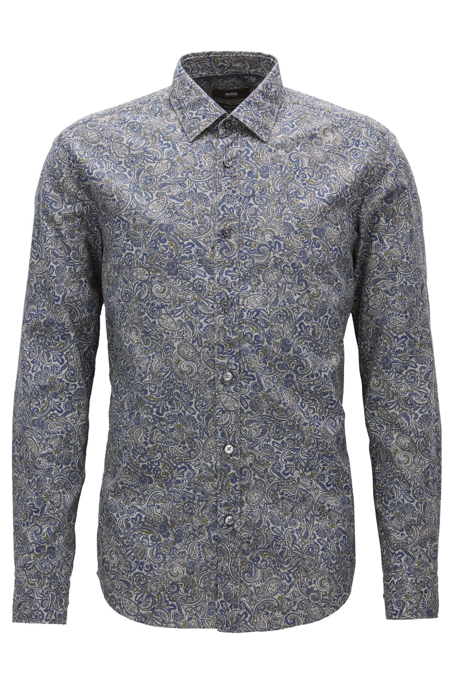 Camicia regular fit in cotone con motivo Paisley