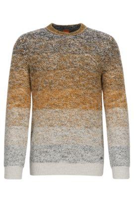 Regular Fit Pullover aus Baumwolle mit Rundhalsausschnitt und Farbverlauf, Dunkelgelb