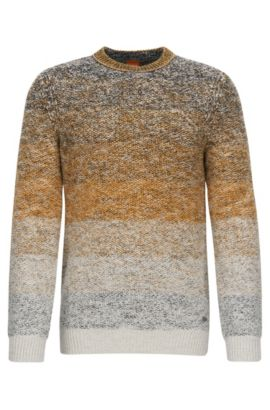 Crew-neck sweater in dégradée cotton, Dark Yellow