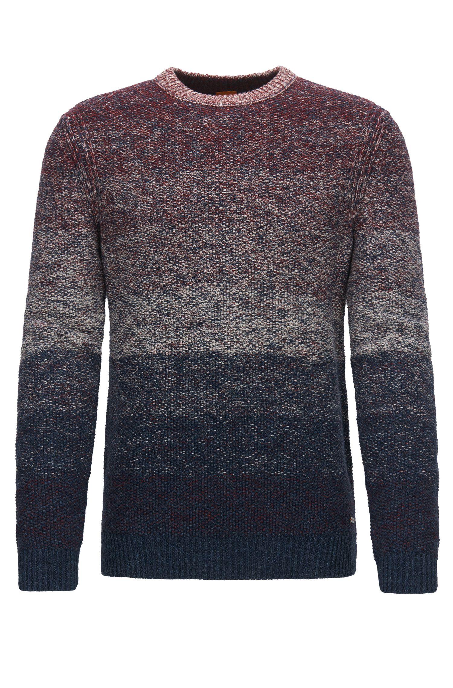 Crew-neck sweater in dégradée cotton