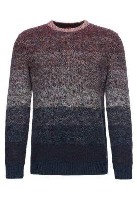 Crew-neck sweater in dégradée cotton, Dark Blue