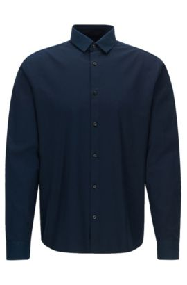 Extra-slim-fit cotton overshirt with contrast trims, Dark Blue