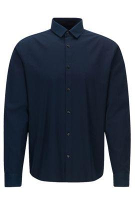 Extra slim-fit overhemd van katoen met contrastdecoraties, Donkerblauw