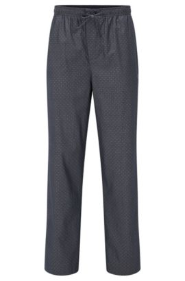 Pyjama bottoms in micro-pattern cotton, Dark Blue