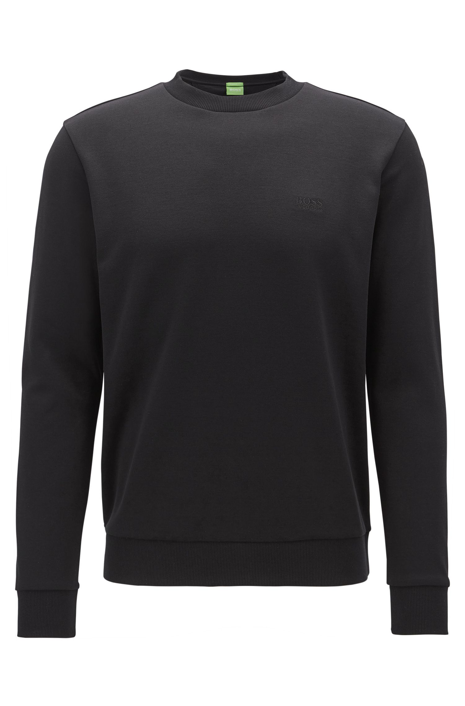 Crew-neck sweatshirt with logo embroidery, Black