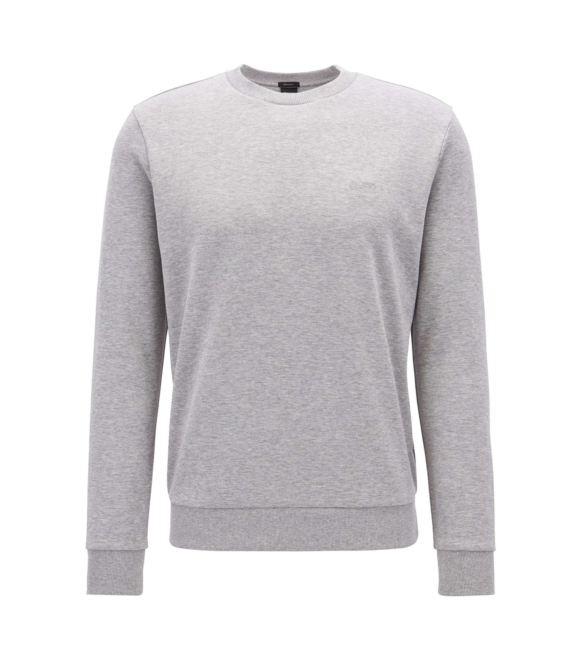 Crew-neck sweatshirt with logo embroidery, Light Grey