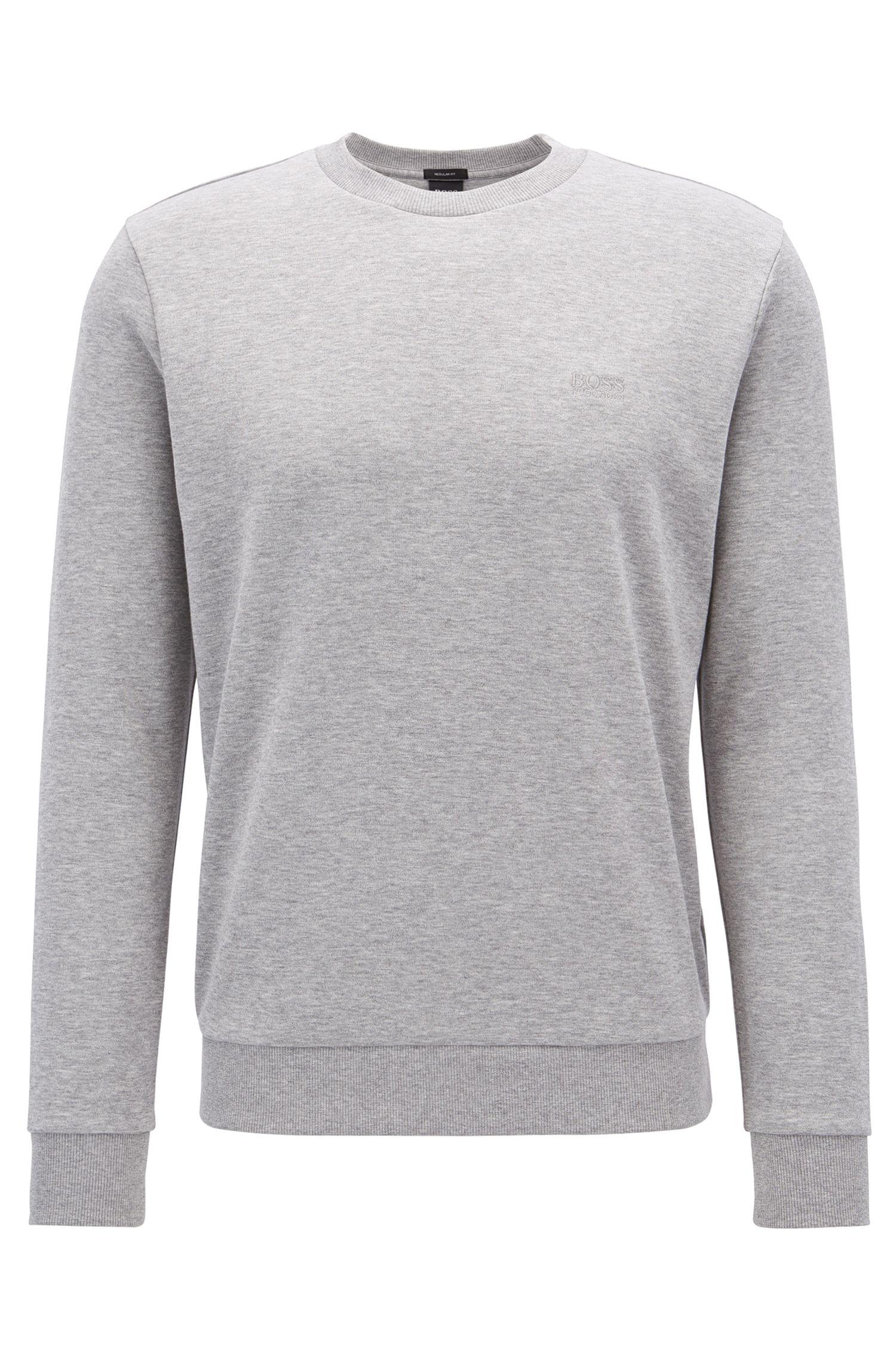 Sweatshirt mit Rundhalsausschnitt und Logo-Stickerei, Hellgrau