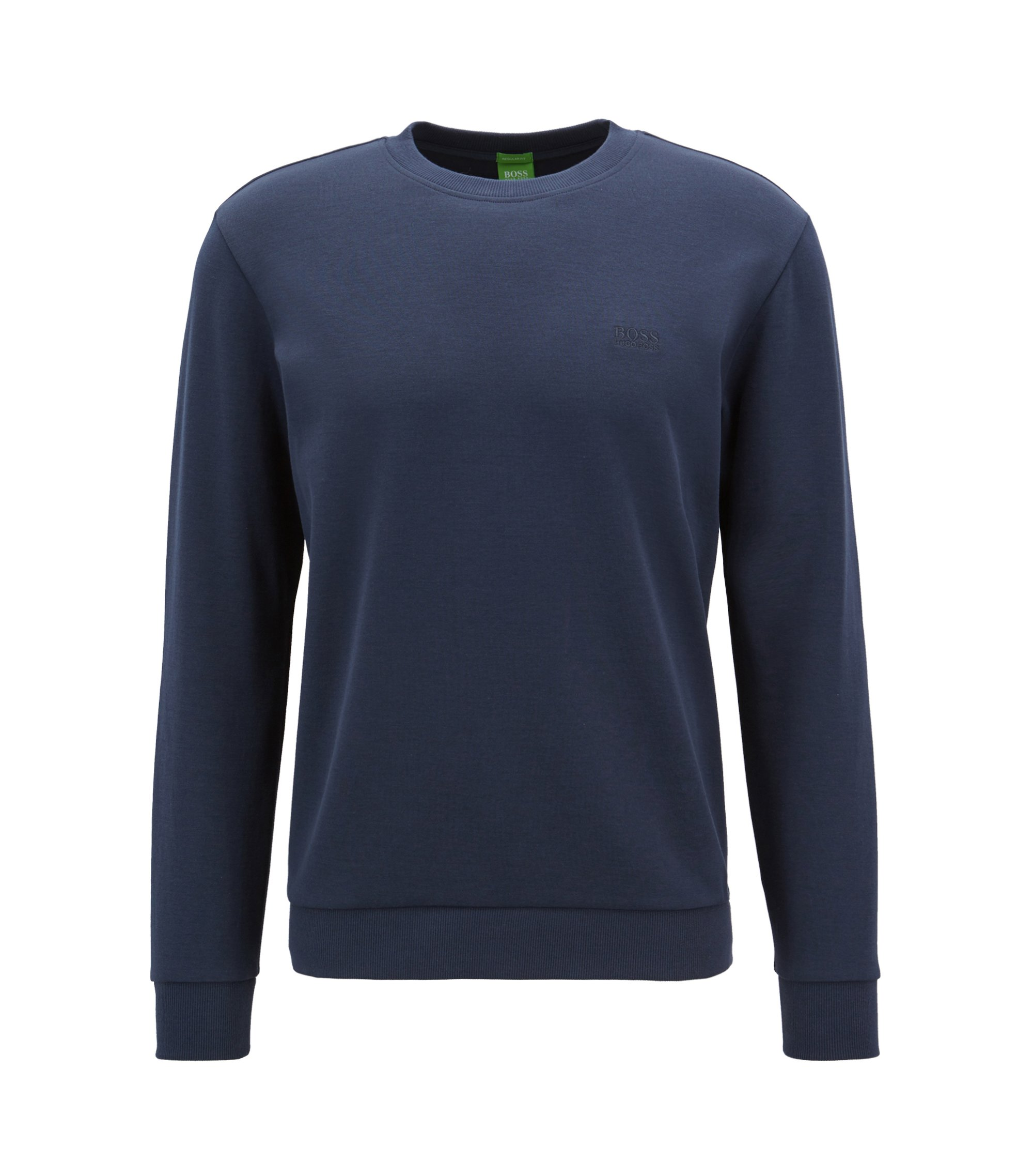 Crew-neck sweatshirt with logo embroidery, Dark Blue