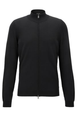 Zip-through cardigan in virgin wool, Black