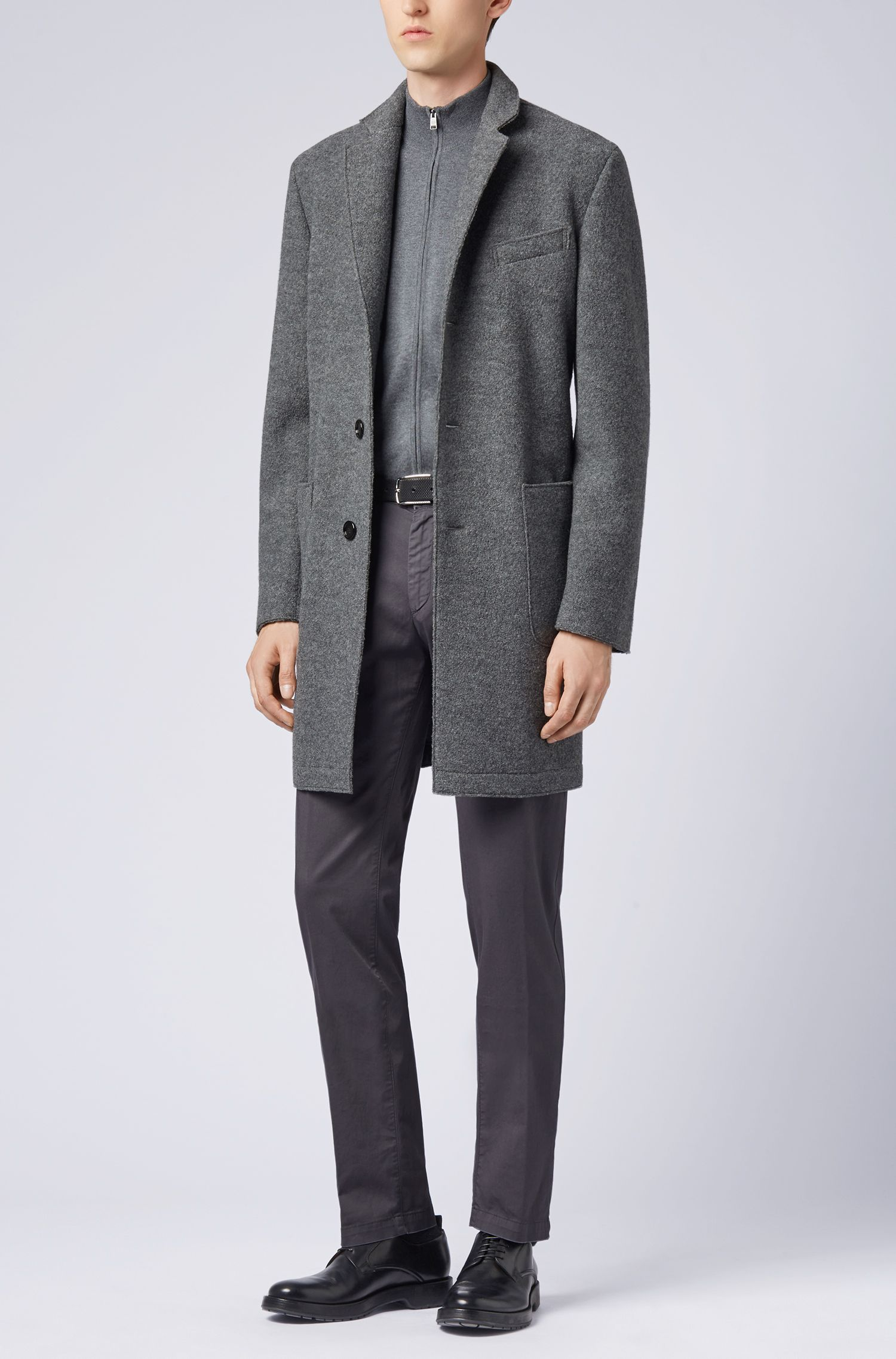 Zip-through cardigan in virgin wool, Grey