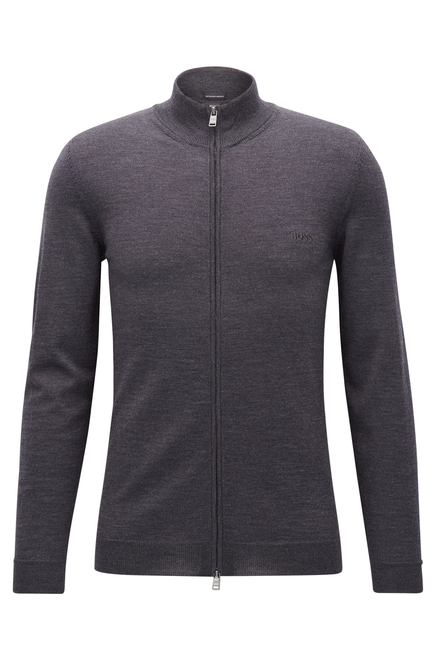 Zip-through cardigan in virgin wool
